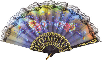 Fancy Dress Party Costume Accessory Burlesque Lace Floral Design Parasol Fan