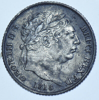 1818 Sixpence British Silver Coin From George Iii Vf