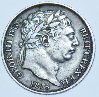 1816 Sixpence British Silver Coin From George Iii Gvf+