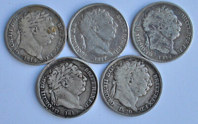 1816, 1817, 1818, 1819 & 1820 SIXPENCES, BRITISH SILVER COIN F-aVF