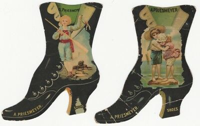 Two Victorian Chromo Die Cut Ladies Shoe Trade Cards - Priesmeyer Shoes