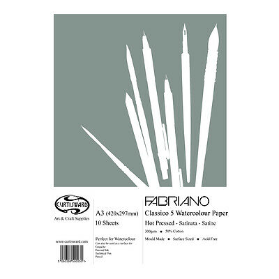 A3 Curtisward Fabriano Classico Artists Hot Pressed Watercolour Paper Pad.