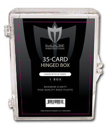 50 Max Pro 35ct Hinged Plastic Baseball Trading Card Boxes Ultra Clear Hinge