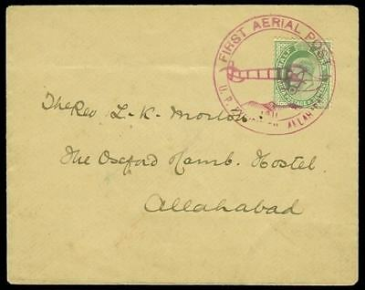 India 1911 First Aerial Post cover franked with KEVII ½a green (SG149).
