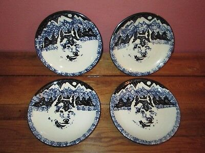 Lot of 4 Tienshan Folk Craft WOLF Small Plates 7 5/8""