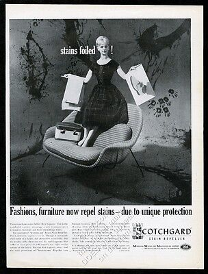 1960 Eero Saarinen modern loveseat photo 3M Scotchgard vintage print ad