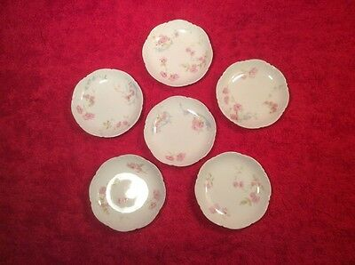 Beautiful Set of 6 Antique Limoges Floral Butter Pats c.1894-1932, L333