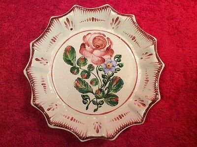 Antique French Faience Rose Butter Pat c1800's, ff370 ANTIQUE GIFT QUALITY!!