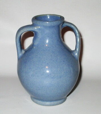 "Double Twist Handle Pottery Bud Vase Blue Small 4 5/8"" Not Signed"