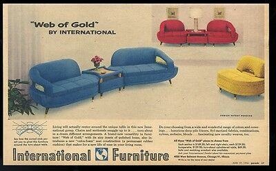 1956 International Furniture Web of Gold blue red yellow chair sofa print ad