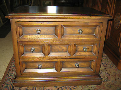 CENTURY Vintage 3 Drawer Nightstand / Side End Table / Rolling Chest Solid Wood