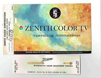 Zenith Color Tv Operating Instructions Vintage Manual(1950'S/60'S?)
