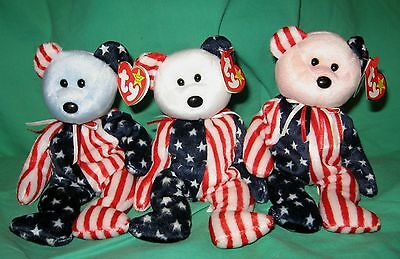 Set of 3 Spangle TY Beanie Baby Patriotic Bears Pink White Blue Face MWNMT 6 14