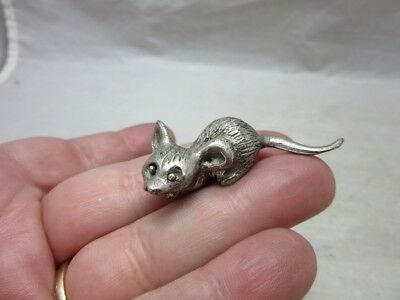 Vintage mini pewter mouse figurine