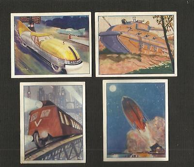 """Trade Cards ~ """"gem"""" Magazine ~ Marvels Of The Future (1929) 4 Cards"""