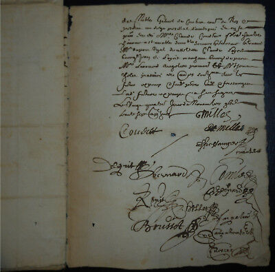 1637 Marriage Contract Signed, 13 Pages Calligraphy Antique Manuscript Document