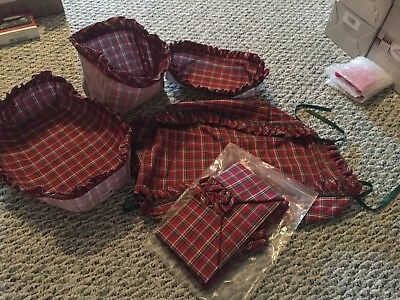 LONGABERGER Christmas Cloth Basket Liner Lot Of 5 Red Green Tartan Plaid NEW