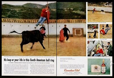 1959 Colombia bullfighting bullfight photo Canadian Club whisky vintage print ad