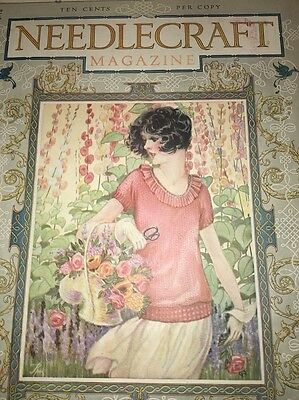 Vintage Needlecraft Cover June 1926 Beautiful Pretty Flapper Girl Sewing Int