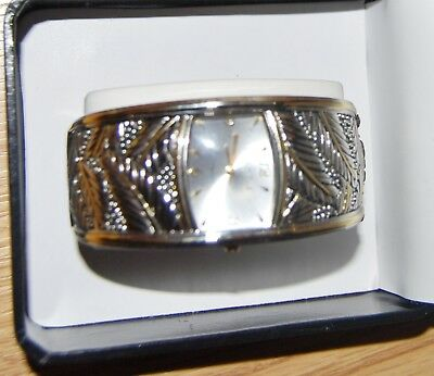 vintage PECK PECK Wide Silver Gold leaf cuff bracelet band WATCH NEW in Box $59