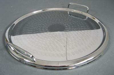 Vintage art deco Ranleigh drinks/serving cocktail tray chrome/stainless round