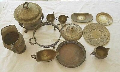 Regency Vintage Lot Silver Server Decor Chaffing Sugar Creamer Window Dressing