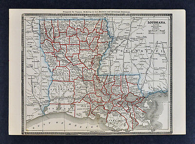 1886 Banker Attorney Map by Cram - Louisiana New Orleans Baton Rouge Lafayette