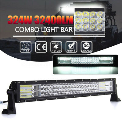 Tri Row 23inch 324W LED Work Light Bar Flood Spot Combo Driving Lamp Offroad SUV
