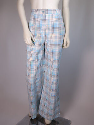 VTG 70s KMART Polyester Blue Plaid Wide Leg High Waist Bellbottoms Pants S/M 6