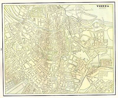 1892 Antique VIENNA Austria Map of Vienna Gallery Wall Art Original Map 4493