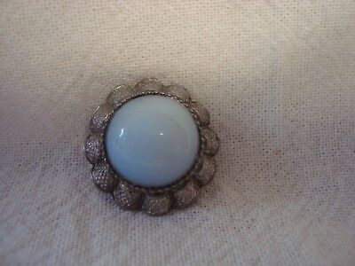 Vintage Metal Brooch - Moonstone Centre