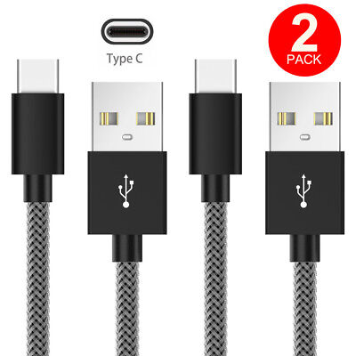 [2 PACK] Strong Braided USB Type C to Cable 2.4A Fast Charger Data Cable Lead