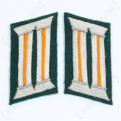 WW2 German Army Officer COLLAR TABS - POLICE POLIZEI UNITS Piping / Orange Piped