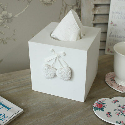 White painted tissue box square shabby chic wooden cube hanging heart home decor