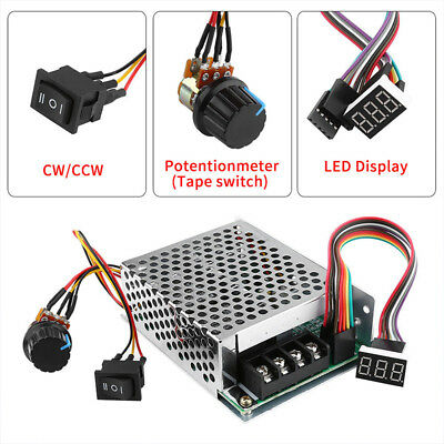 DC10V-55V 12V 24V 48V 60A PWM Motor Speed Controller CW CCW Reversible Switch