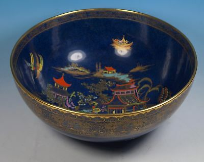 "Wiltshaw & Robinson 1930's Carlton Ware BLUE MIKADO Large 9"" Footed Fruit Bowl"