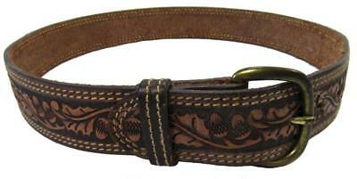 Handcrafted Leather Belt Acorn Pattern Fits 30 - 32""