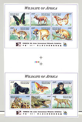 Togo #1687-88 Wildlife Monkeys 2v M/S of 6 on 1v Imperf Chromalin Proof