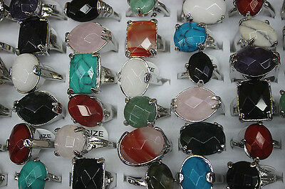 Fashion jewelry wholesale Lots 30pcs charming colorful nature stone lady's rings