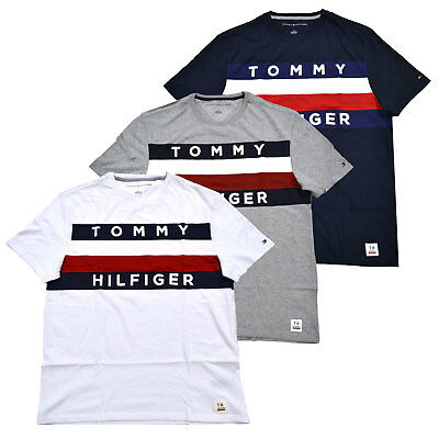 0adf344a6 Tommy Hilfiger T-shirt Mens Graphic Tee Large Flag Logo Crew Neck Short  Sleeve