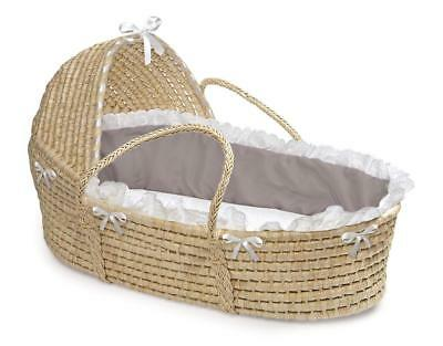 Badger Basket Natural Hooded Moses Basket with Bedding - Gray/White