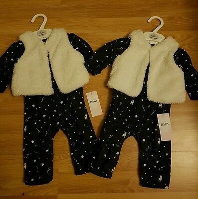 2 x baby GIRL WINTER outfit 0-3 months NAVY all in one & fleece gillet TWINS