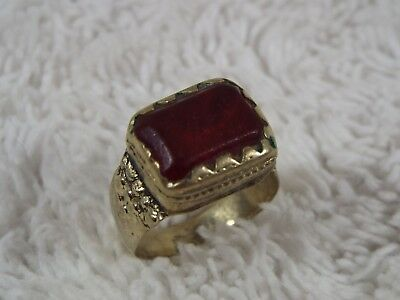 Vintage Medieval-Style Rustic Handmade Brass Red Glass Ring ~ Size 8 (C17)
