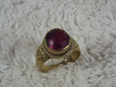 Vintage Medieval-Style Rustic Handmade Brass Purple Glass Ring ~ Size 9.5 (C18)