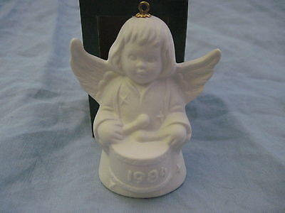 1984 Goebel ANGEL BELL ORNAMENT White Bisque With Drum in Box FREE SHIPPING