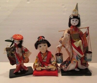 Lot of 3 Oriental Dolls, Porcelain & Rubber JAPAN