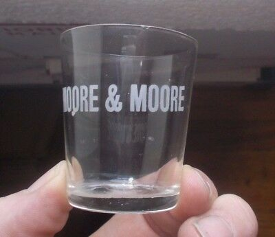 Moore & Moore Etched Pre Pro Whiskey Advertising Shot Glass Early 1900 Era