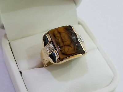 Art Deco 10k Gold Carved Tiger's Eye & Diamond Double Roman Cameo Ring - 8071