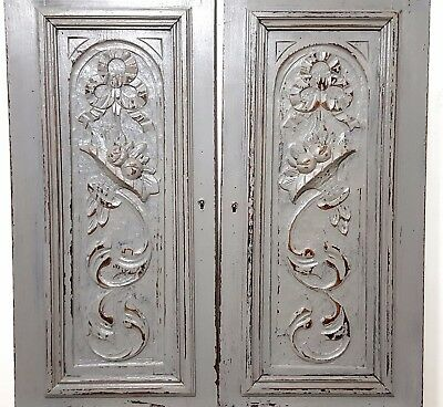 """Shabby Carved Wood Cabinet Panel Door 25"""" Matched Pair Antique French Bow Flower"""