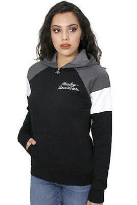 Harley-Davidson Womens Full Zip Raglan Fleece Colorblock Hoodie Jacket